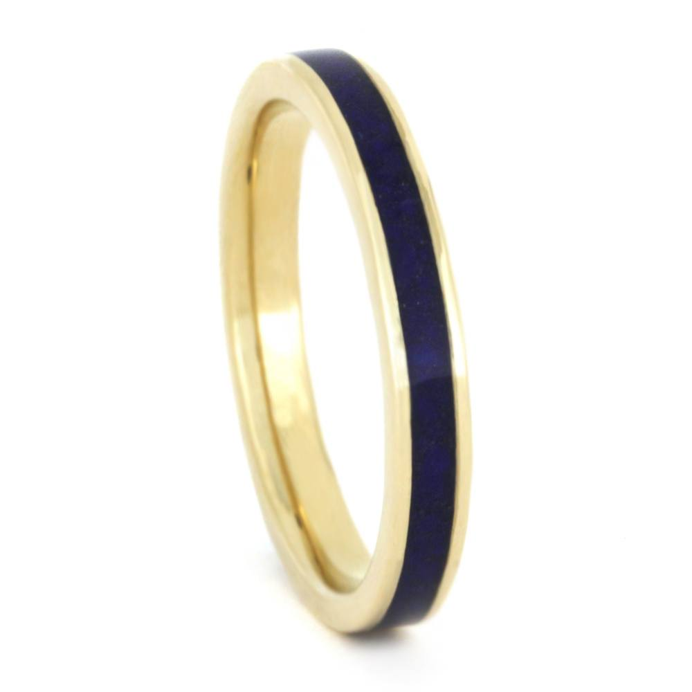 Lapis Ring, Flat Yellow Gold Wedding Band, Womens Ring-3334 - Jewelry by Johan