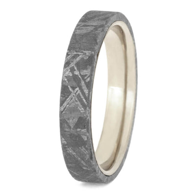 Gibeon Meteorite Wedding Band With White Gold Sleeve-2443 - Jewelry by Johan