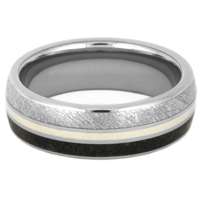 Dinosaur Bone Ring, Meteorite Wedding Band With White Gold-3517 - Jewelry by Johan