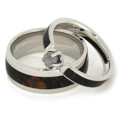 White Gold Wedding Ring Set With Rough Diamond Dinosaur Bone Ring-1834 - Jewelry by Johan