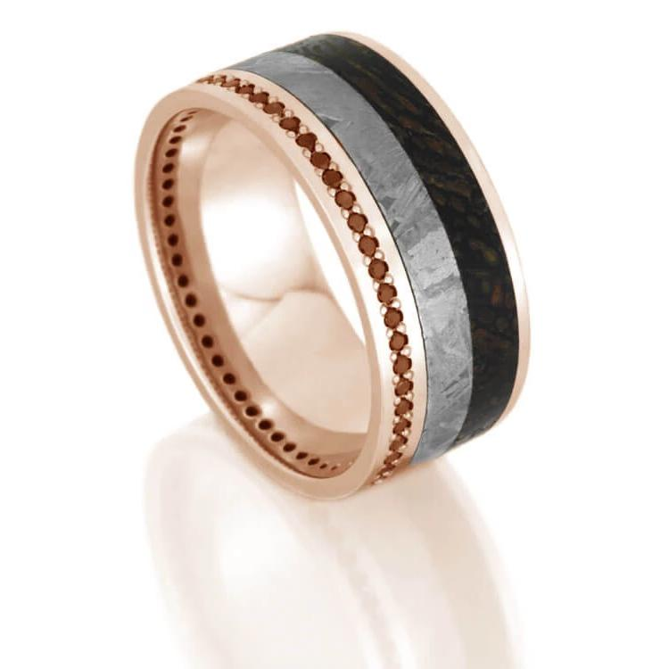 Black Diamond Eternity Ring with Dinosaur Bone and Meteorite-DJ1021RG - Jewelry by Johan