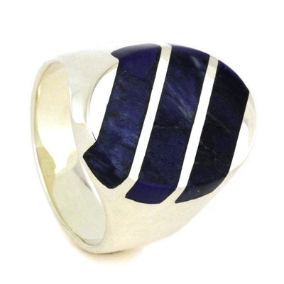 Signet Style Sterling Silver Ring with Blue Lapis Inlays-2861 - Jewelry by Johan