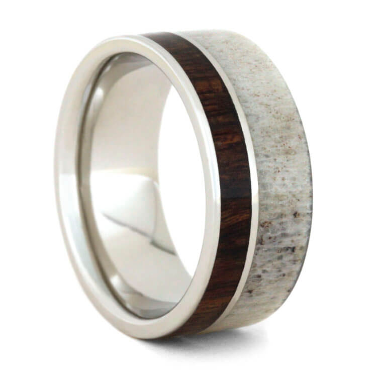 Deer Antler Wedding Band Platinum Ring With Caribbean Rosewood