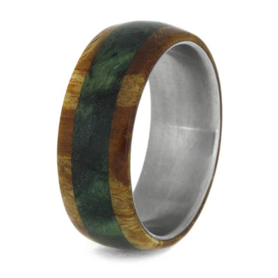 Colorful Wood Wedding Band, Titanium Ring With Green And Gold Box Elder Burl-1033 - Jewelry by Johan