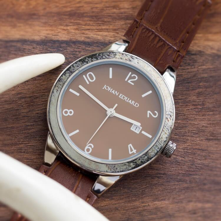 Brown Watch With Alligator Grain Leather Strap, Shown With Antler