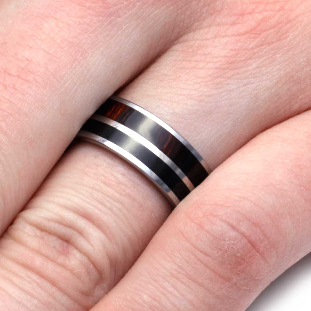 Obsidian Ring in Tungsten with Ironwood Complement - Jewelry by Johan