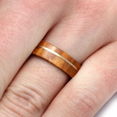 Olive Wood And Metal Ring With A Yellow Gold Pinstripe-2789 - Jewelry by Johan