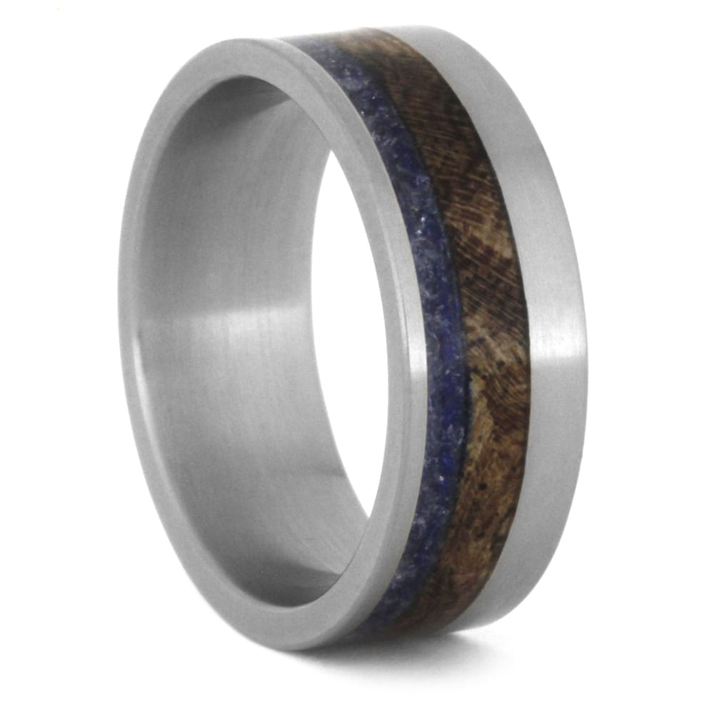 Sea Glass Jewelry, Wood Wedding Band, Titanium Ring With Mesquite Burl-3520 - Jewelry by Johan