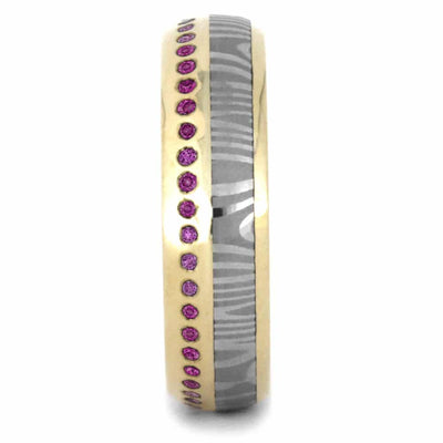 Pink Sapphire Eternity Wedding Band, Damascus Ring in 14k Yellow Gold-3533 - Jewelry by Johan