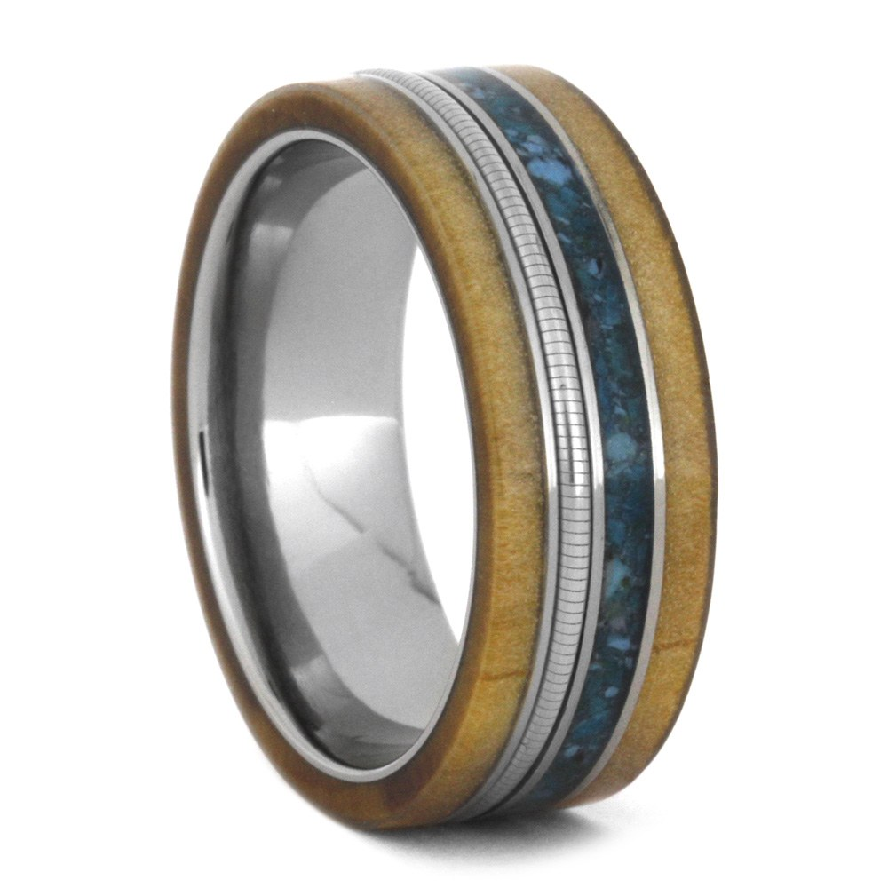 Cello Ring, Turquoise And Rowan Wood Wedding Band in Titanium-3493 - Jewelry by Johan