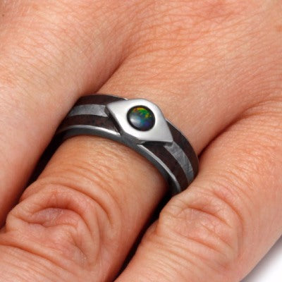 Black Fire Opal Ring With Dinosaur Bone And Meteorite Inlays-2181 - Jewelry by Johan