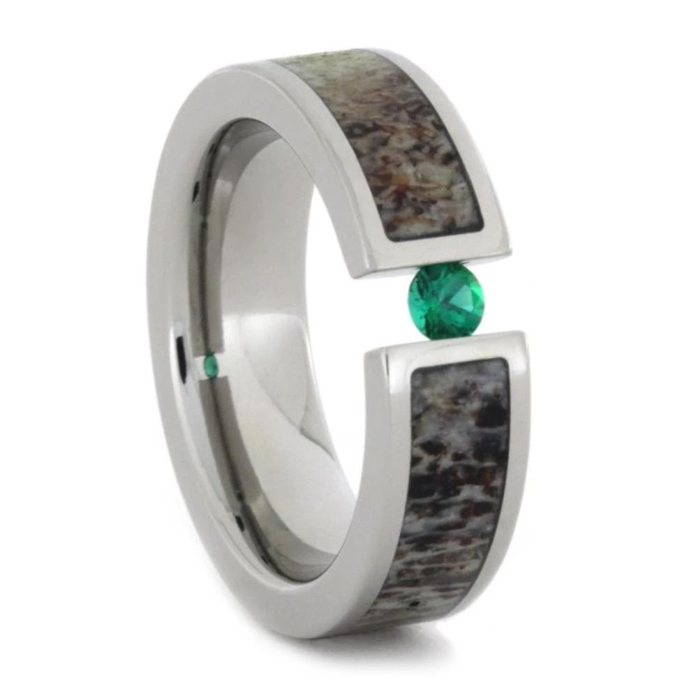 Titanium Gemstone Ring With Tension Set Tsavorite Garnet And Antler Inlay