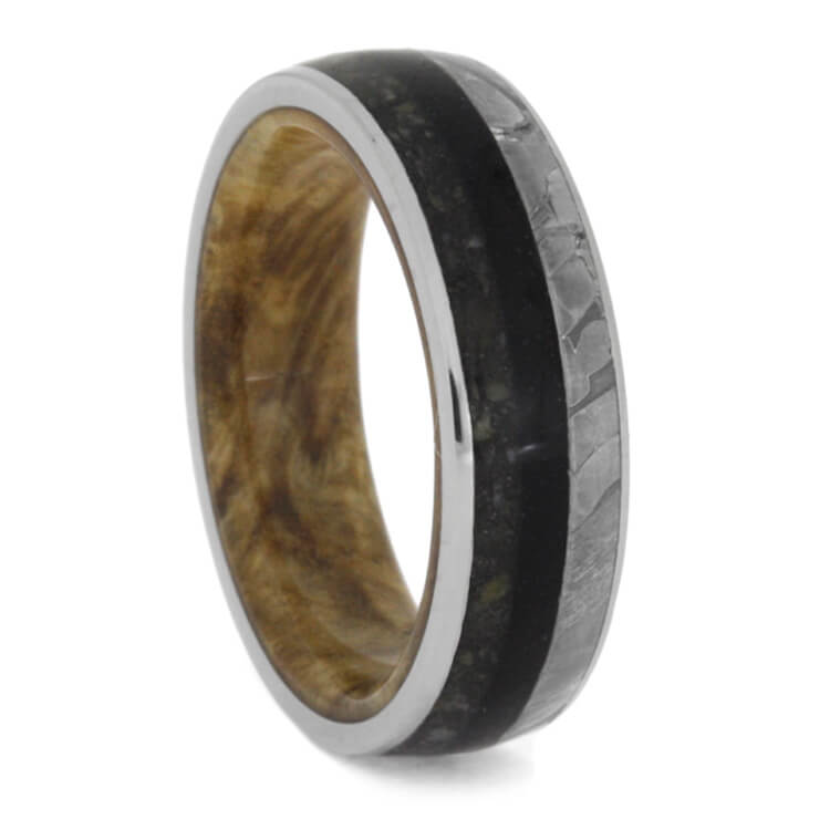 Unique Wood Men's Wedding Band With Seymchan Meteorite And Crushed Dino Bone-2758 - Jewelry by Johan