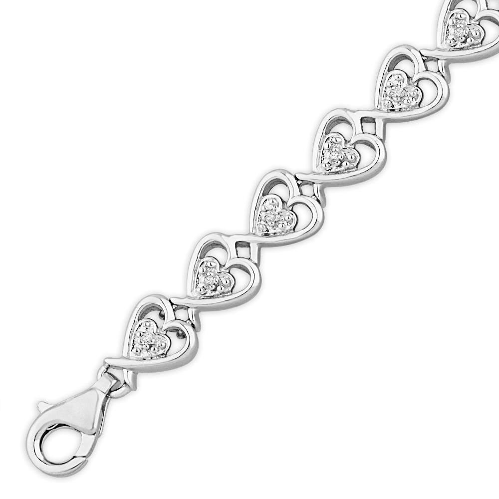 Interlocking Diamond Heart Bracelet, Sterling Silver or Gold-SHBF070823AAW - Jewelry by Johan