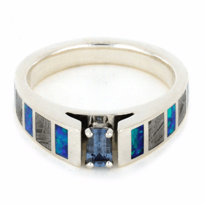 Aquamarine Engagement Ring With Meteorite And Opal Inlays-2112 - Jewelry by Johan