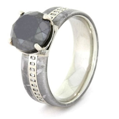 Round Cut Black Diamond Engagement Ring, White Gold and Meteorite-1599 - Jewelry by Johan