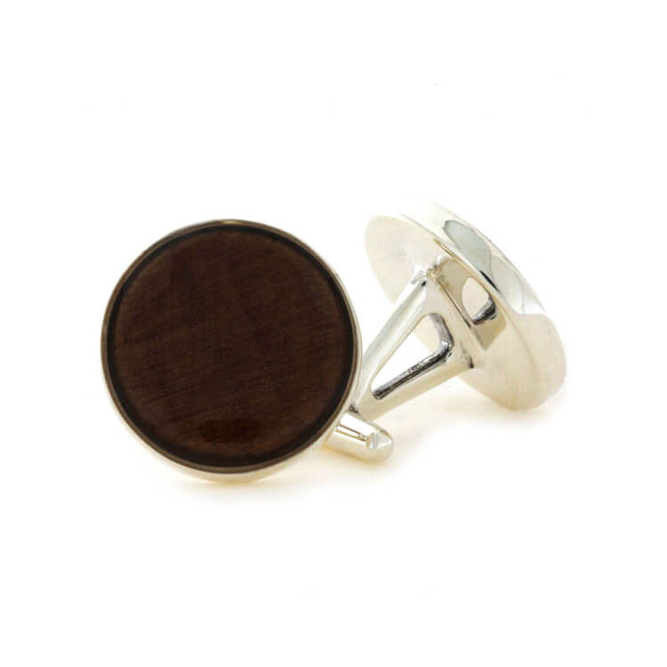 Round Kauri Wood Cuff Links in Sterling Silver-2250 - Jewelry by Johan
