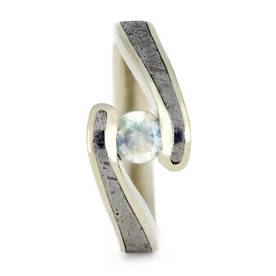 Moonstone Ring With Meteorite, White Gold Engagement Ring, Faux Tension-1588