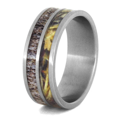 Men's Wedding Band with Camo and Antler