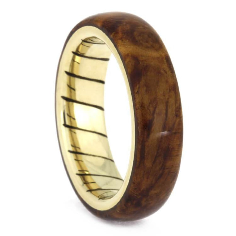 Amboyna Wood Wedding Ring With A Unique Spiral 14k Yellow Gold Sleeve-2465