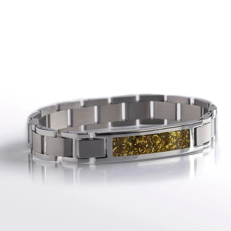 Yellow Gold Inlay Bracelet, Stainless Steel With Gold Shavings, Bracelet Set-BR1008-1 - Jewelry by Johan