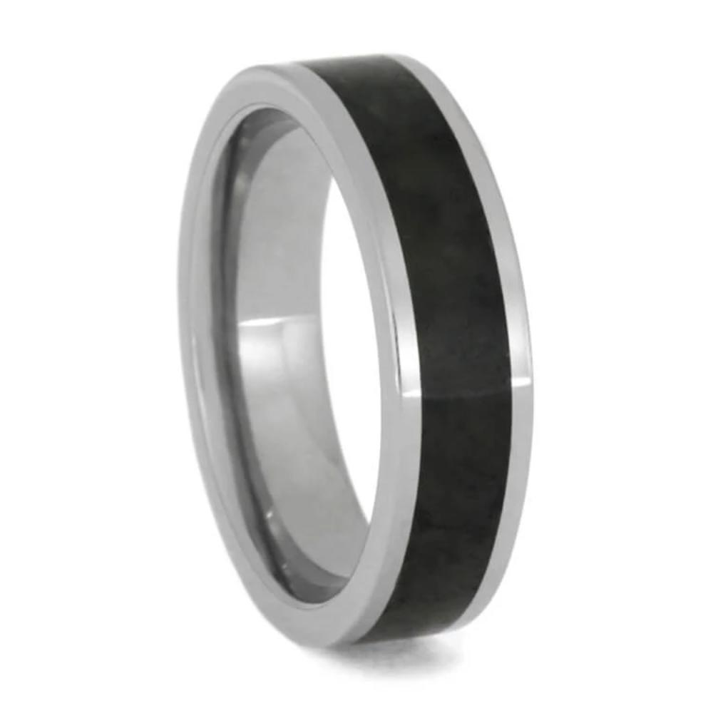 Jade Wedding Ring, Beautiful Black Jade in Titanium Band-1419 - Jewelry by Johan