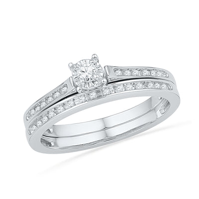Diamond Wedding Ring Set in Sterling Silver