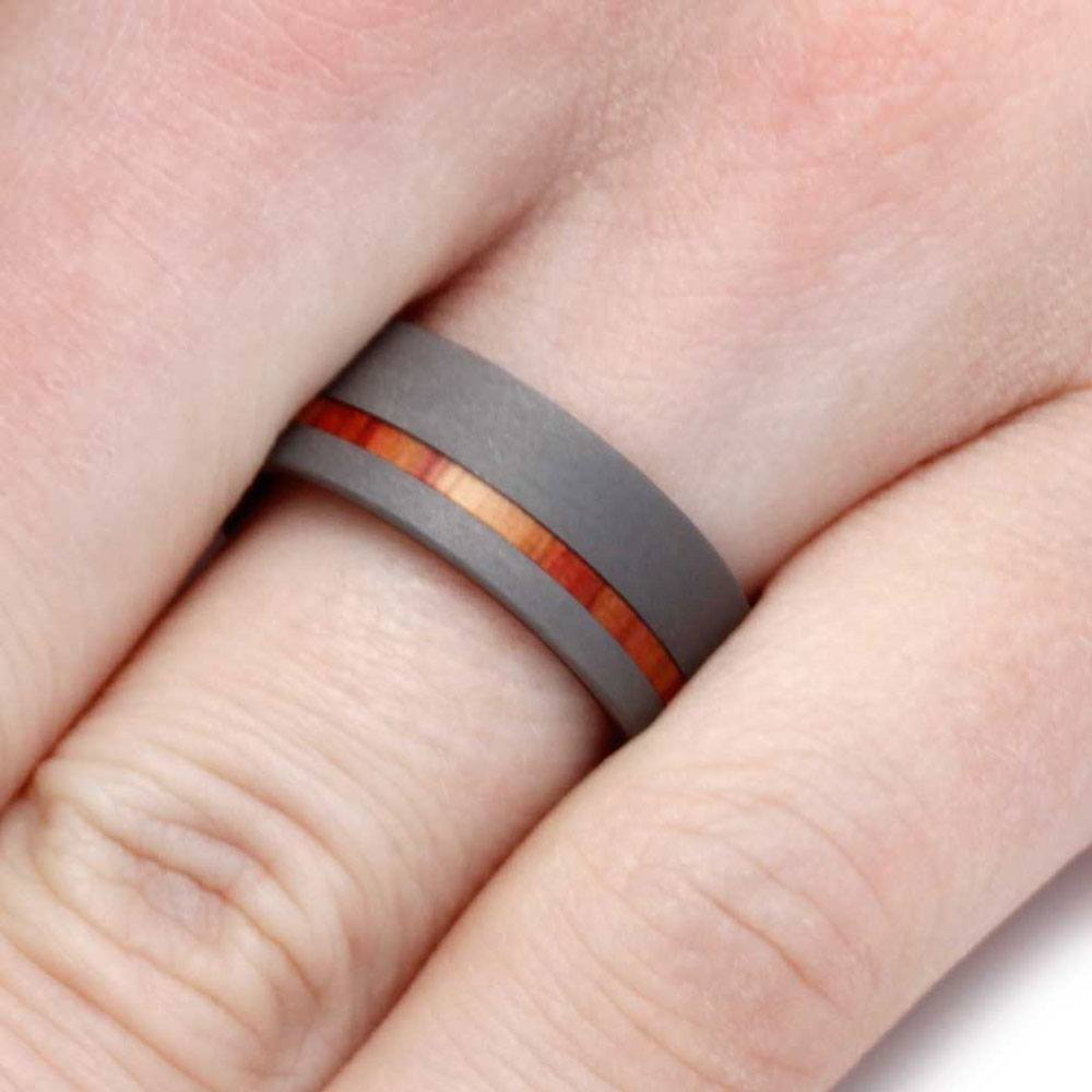 Mens Wedding Band, Titanium Ring with Tulip Wood Sleeve - Jewelry by ...