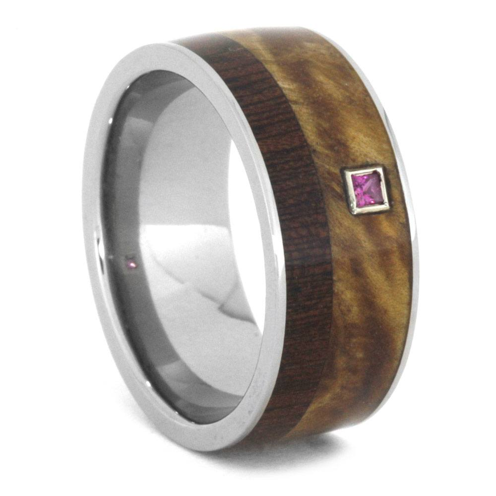 Wood Wedding Band, Princess Cut Ruby in White Gold Setting-3221 - Jewelry by Johan