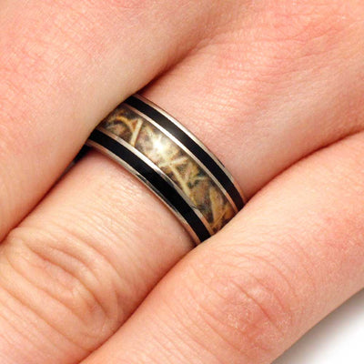 Finger Wearing Camo Wedding Band for Hunters