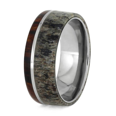 Titanium Ring with Deer Antler and Wood