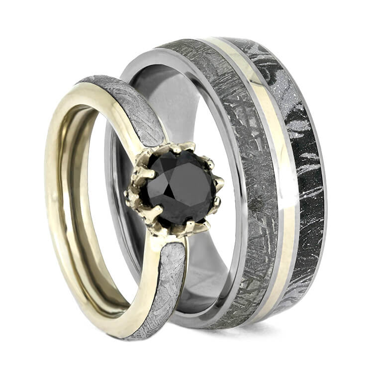 Black Diamond Ring Set, White Gold Wedding Rings With Meteorite-3659 - Jewelry by Johan