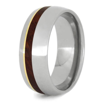 titanium wedding band with yellow gold and wood inlays