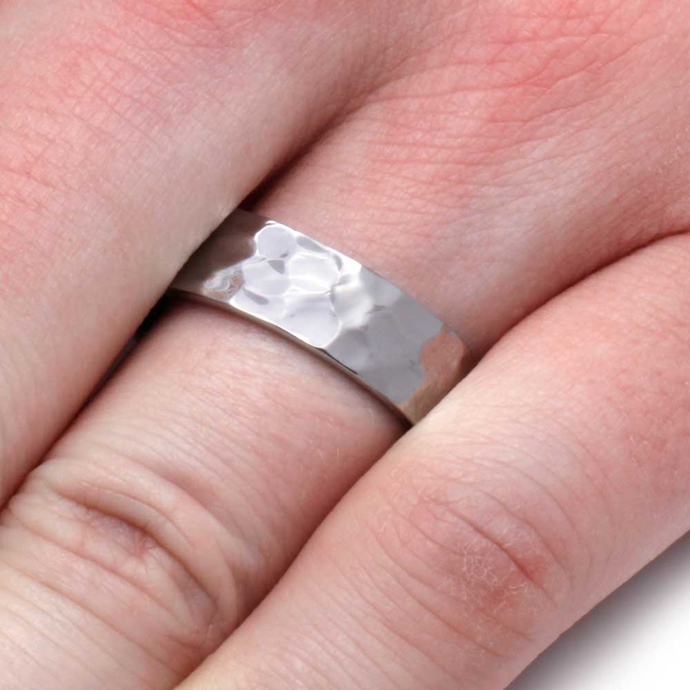 Hammered Titanium Wedding Band, Solid Titanium Band - Jewelry by Johan