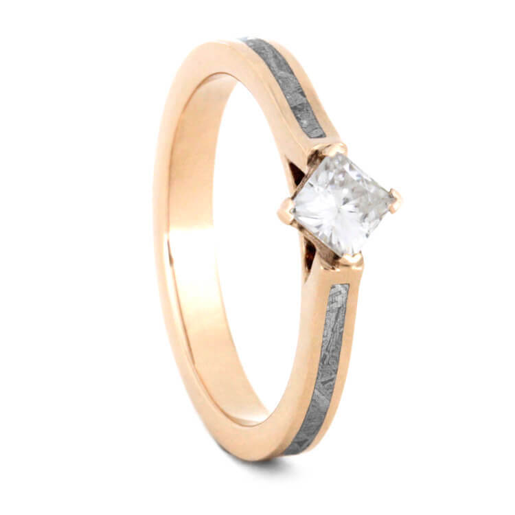 Meteorite Engagement Ring in 14k Rose Gold, Square Moissanite Ring-2484 - Jewelry by Johan