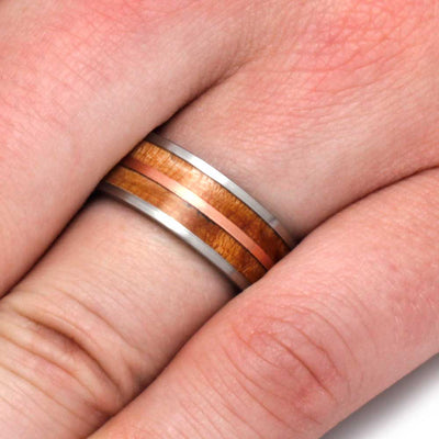 Wood Wedding Band With Birds Eye Maple And Copper-3168 - Jewelry by Johan