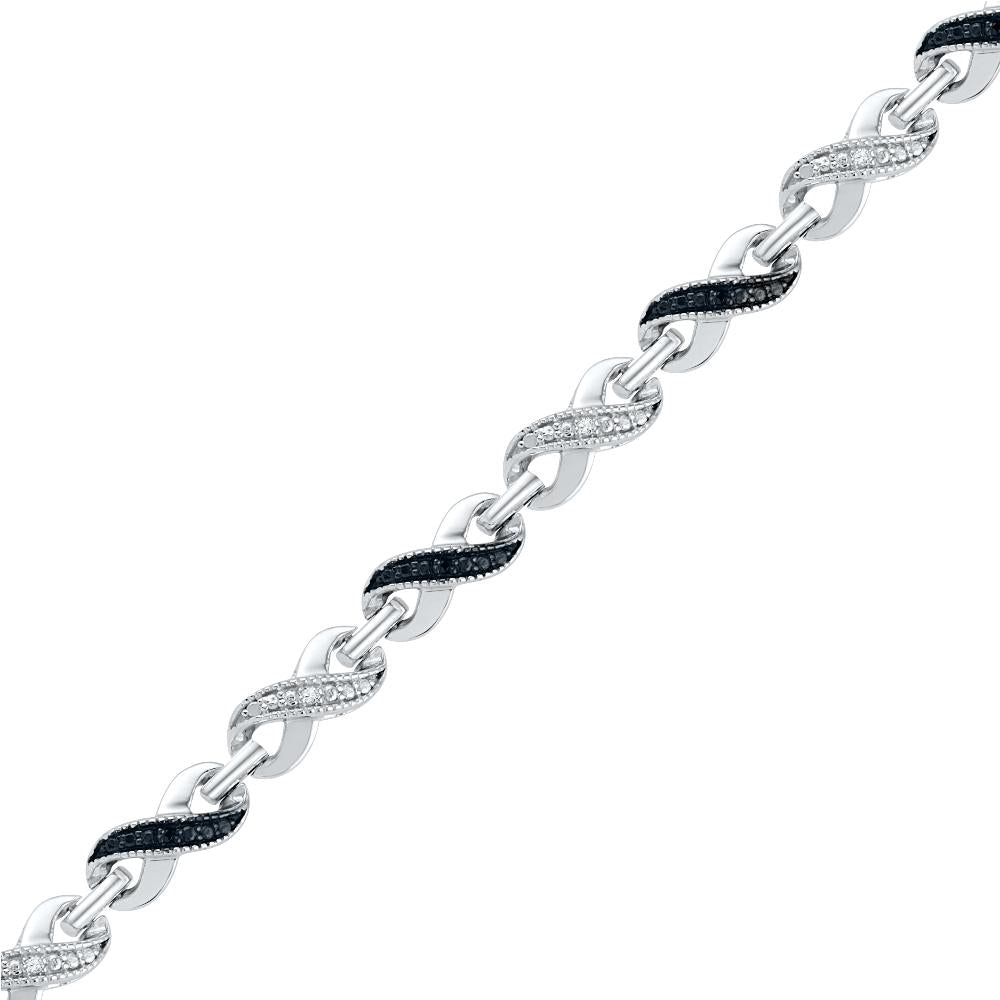 Sterling Silver Black Diamond Accent Infinity Bracelet-SHBF073780BAWBW-SS - Jewelry by Johan
