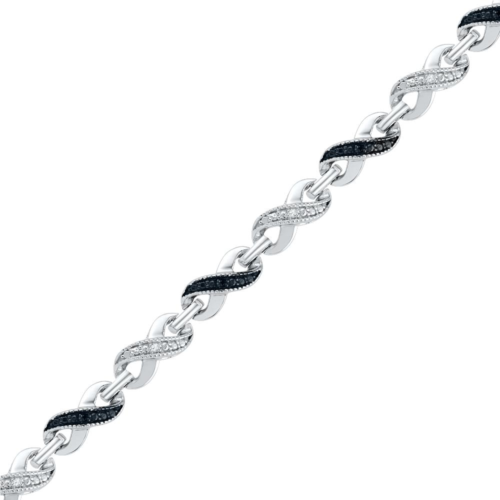Black & White Diamond Infinity Bracelet-SHBF073780BAWBW - Jewelry by Johan