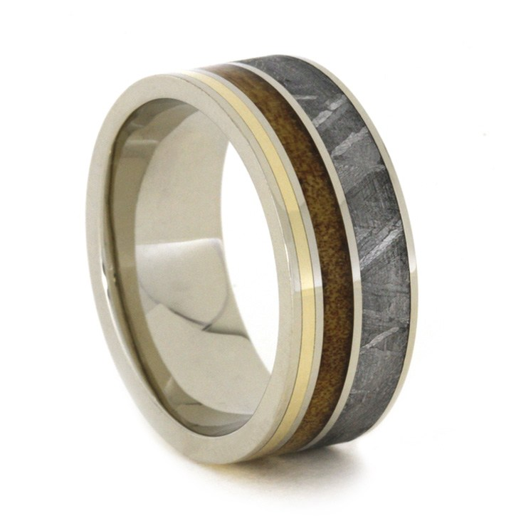 White Gold Meteorite Wedding Band, Kauri Wood and Yellow Gold-1885 - Jewelry by Johan