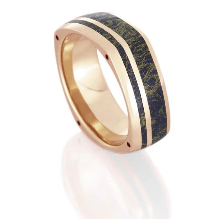 Mokume Wedding Band With Side Accents, Rose Gold Ring With Lapis-DJ1003RG - Jewelry by Johan