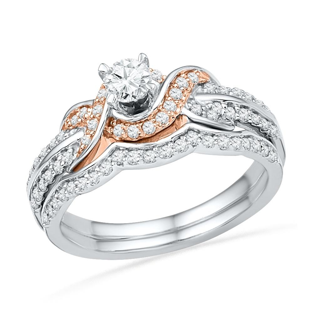 Sterling Silver and Rose Gold Diamond Solitaire Engagement Ring Set