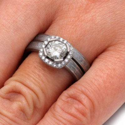 Meteorite-Moissanite-Diamonds-Brushed-Palladium-Bridal-Set(5)