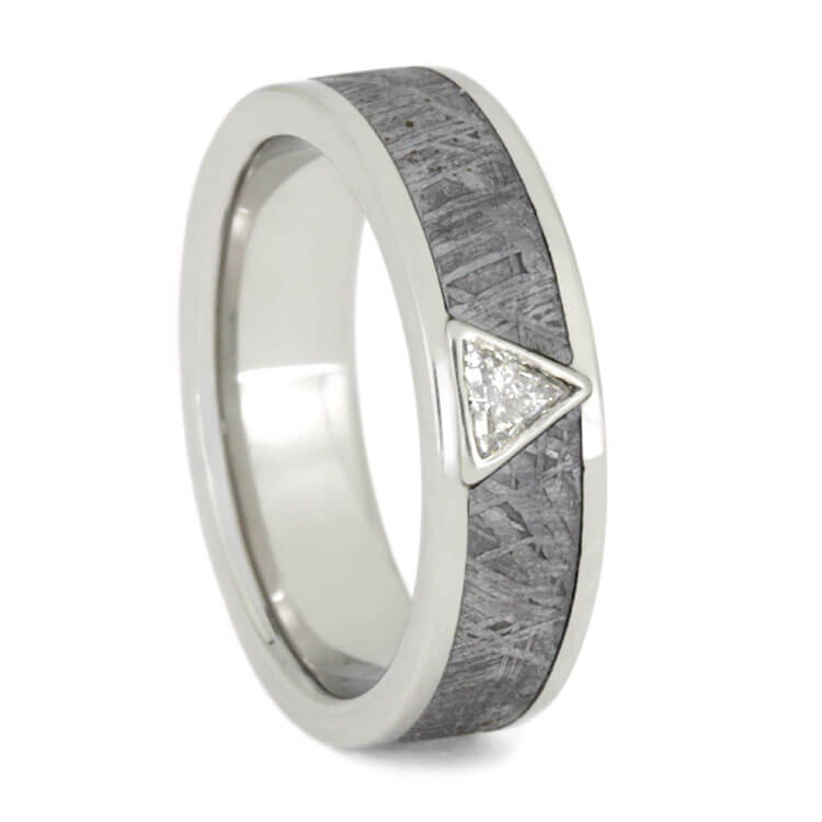 Triangle Diamond And Meteorite Wedding Ring, Size 7.75-RS9898 - Jewelry by Johan