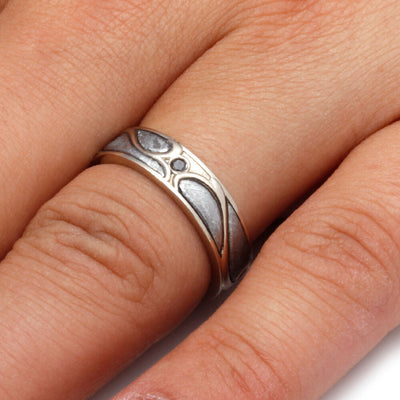 Meteorite Wedding Ring, 14k White Gold Art Nouveau Ring-1689 - Jewelry by Johan