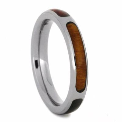 Sectioned Wood Wedding Band with Meteorite in Titanium-2171 - Jewelry by Johan