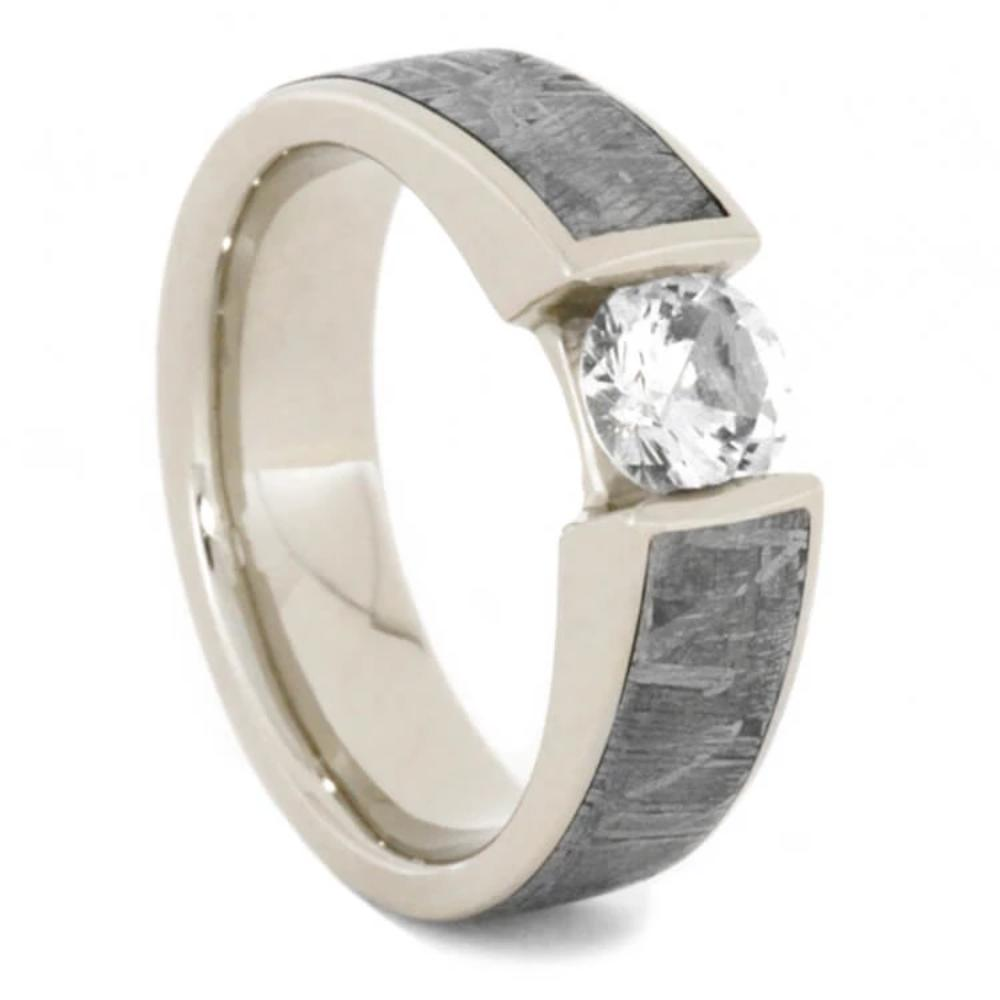 Tension Set White Sapphire Ring with Meteorite in 14k White Gold