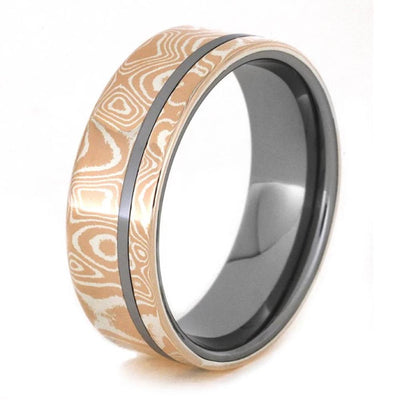 Tungsten Ring With Mokume Gane, Mixed Metal Wedding Band - Jewelry ...