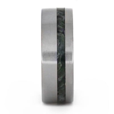 Jade Ring, Titanium Wedding Band with Wood Sleeve and Jade Inlay-3229 - Jewelry by Johan