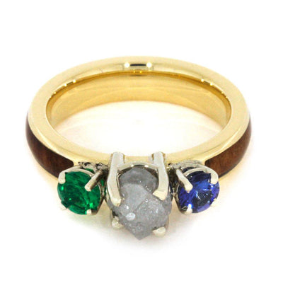 Gemstone Engagement Ring with Apple Wood in Yellow Gold-2802 - Jewelry by Johan
