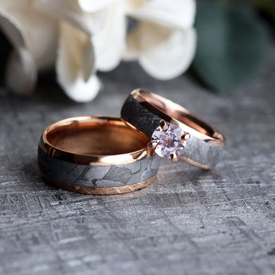 Rose Gold Meteorite Ring Set With Morganite, Matching Wedding Rings-3774 - Jewelry by Johan
